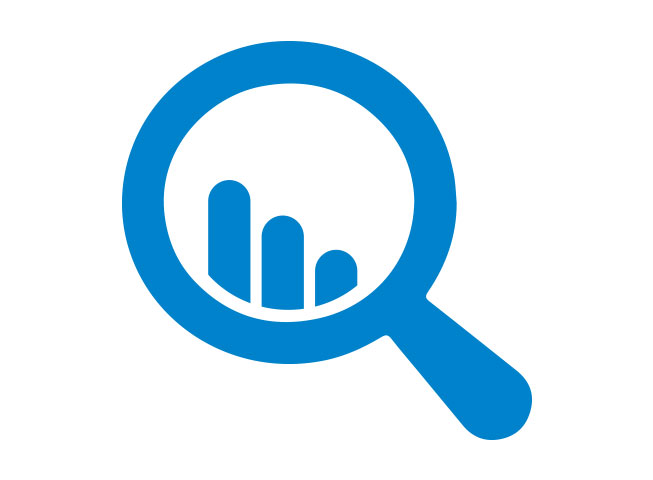 icon of a magnifying glass searching data