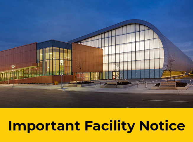 exterior of Abilities Centre facility. Important Facility Notice written below