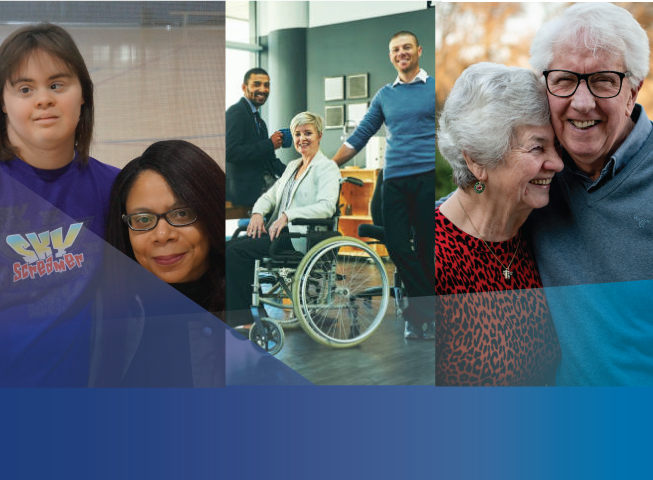 diverse images showing disabilities including 2 women, a woman in a wheelchair and a senior couple