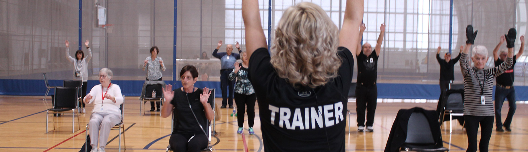 Abilities Centre trainer leads participants through a varied exercise routine