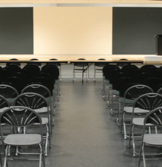 chairs setup in rows in the Abilities Centre Theatre