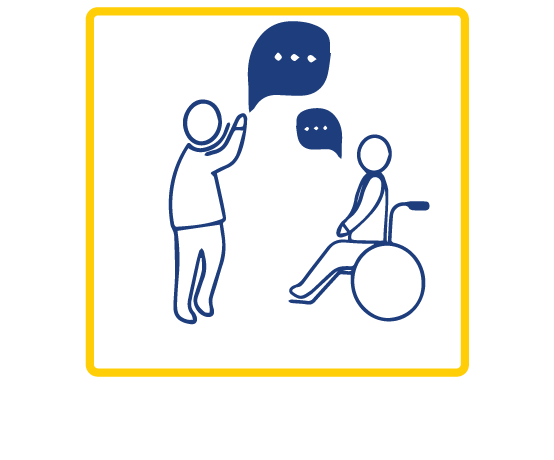 Outlined in blue is a  person on a wheelchair icon and a person standing icon talking with eachother