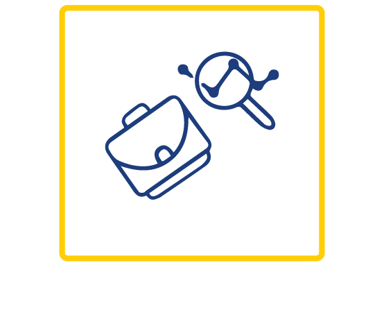 Blue outline of icons of a magnifying glass and a suitcase