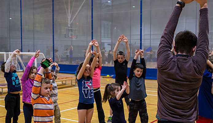 Abilities Centre program in Fieldhouse led by a Abilities Centre coordinator