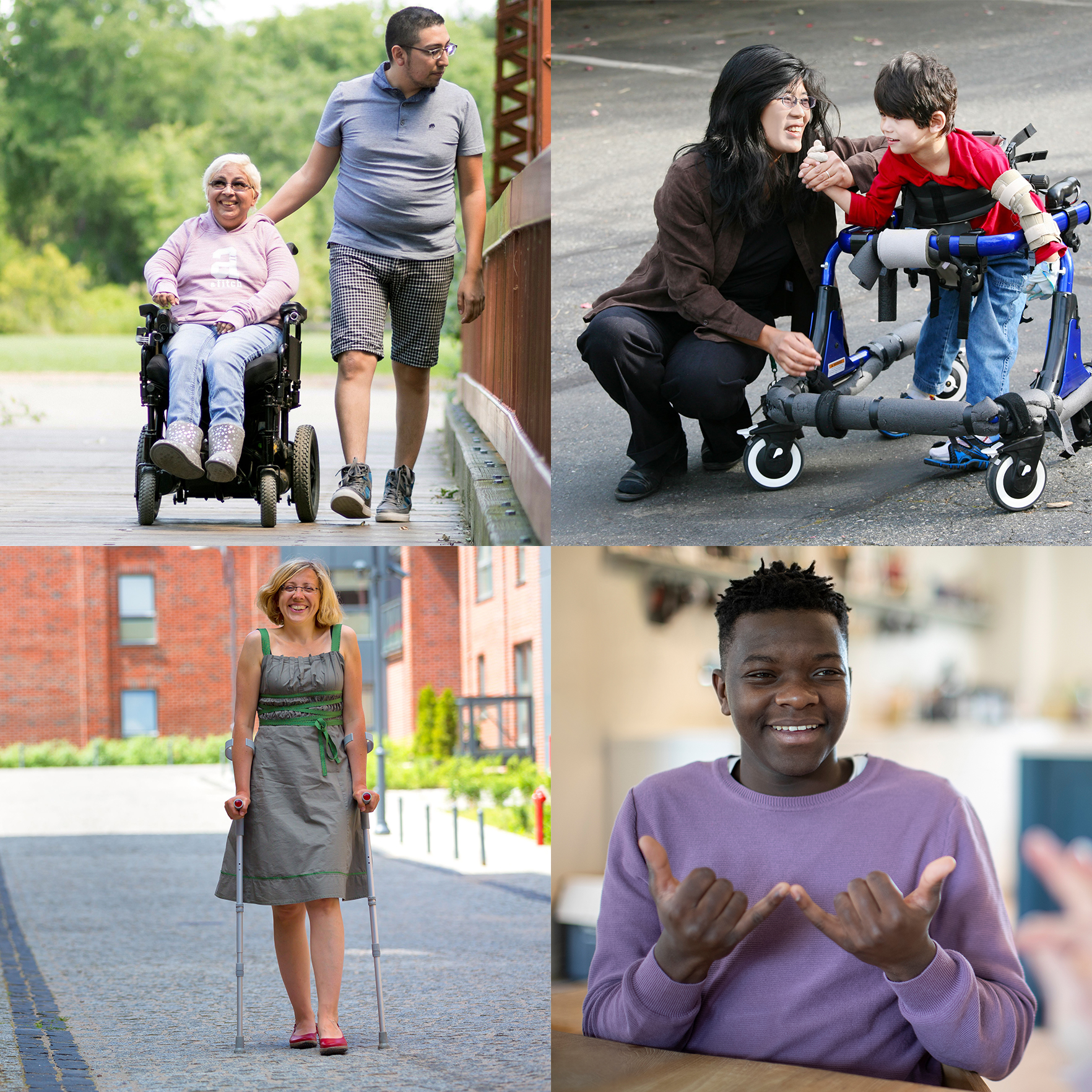 Collage of 4 images representing diverse disabilities