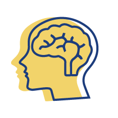 health-and-wellness icon is a blue outline of a human head looking left with the outline of a brain. The same image in yellow is outlined in the background