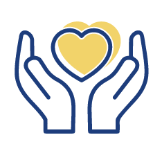 quaility-of-life icon shows two hands outlined in blue with a heart that has a yellow hard inside