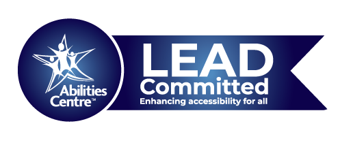 A blue circle to the left contains Abilities Centre Logo in white. to the right a blue  ribbon is connected to the cirlce that reads LEAD Committed. Enhancing accessibility for all