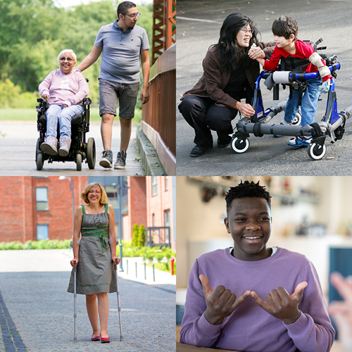 collage of 4 different images representing various disabilities.